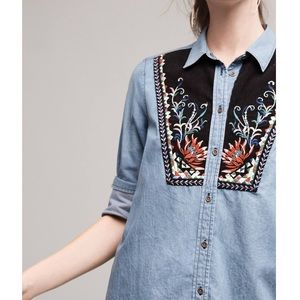 Anthropologie Murelet Chambray Embroidered Tunic
